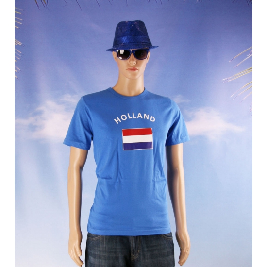 Blauw body fit shirt met Holland vlag