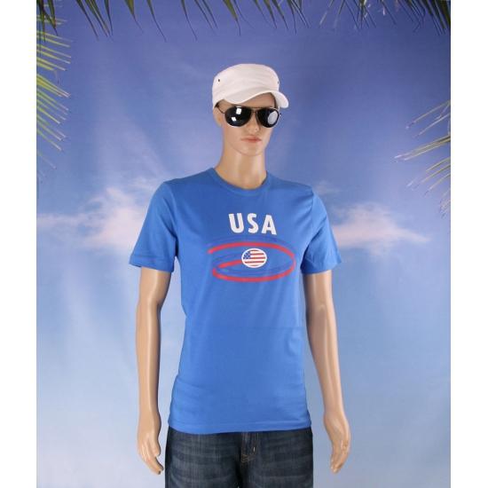 Blauw body fit shirt USA heren