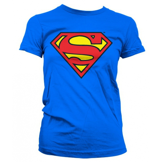 Blauw girly t shirt Superman logo