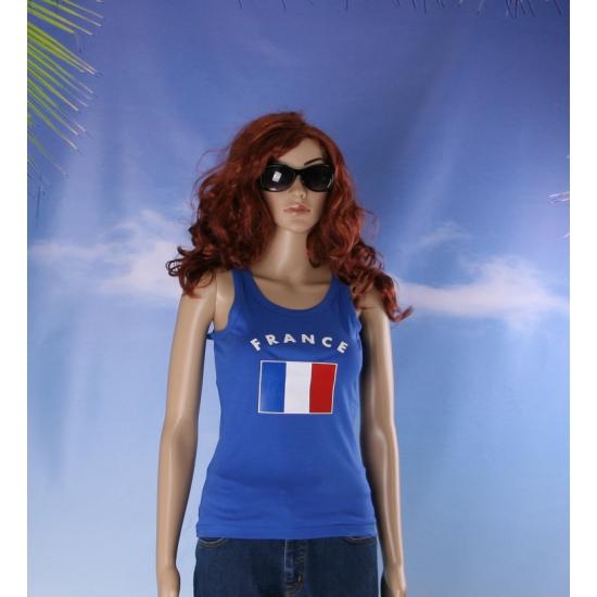 Blauw mouwloos shirt met Franse print