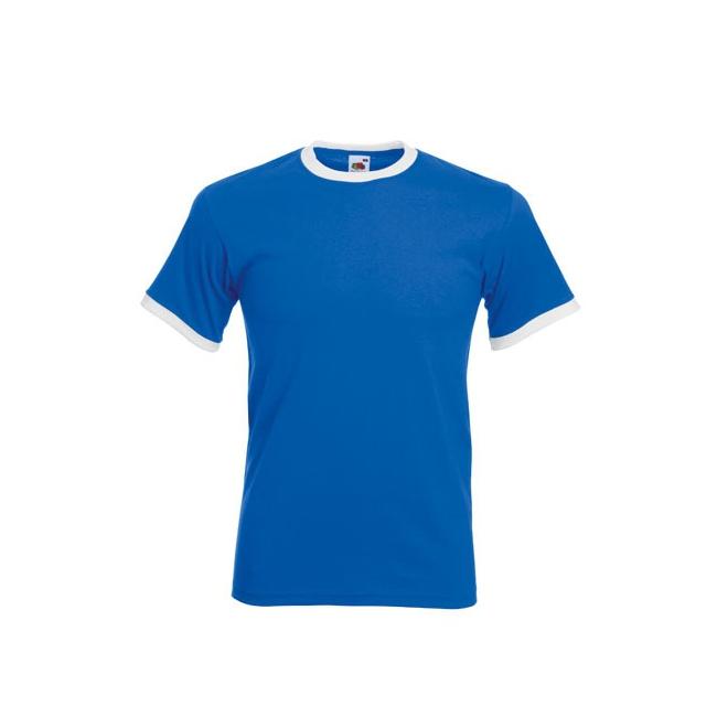 Blauw ringer t shirt met witte contrast kleur