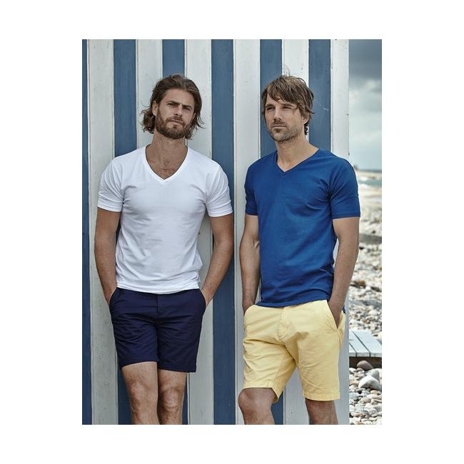 Blauw strak heren t shirt met V hals