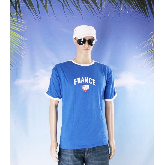 Blauw t shirt met Frankrijk print