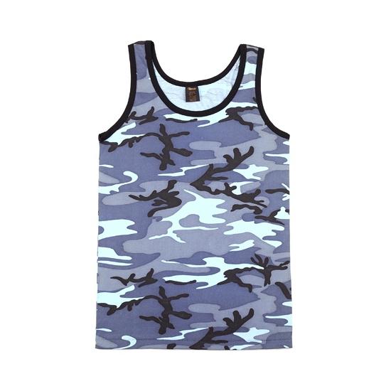 Blauwe camouflage tanktop