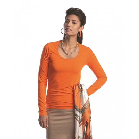 Bodyfit dames shirt met lange mouwen