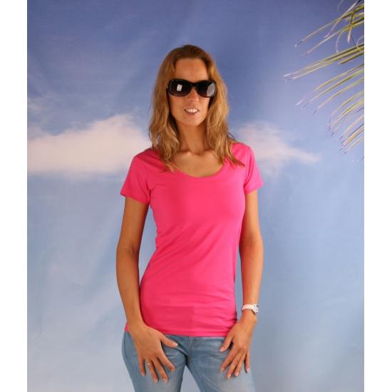 Bodyfit fuchsia dames shirt met ronde hals
