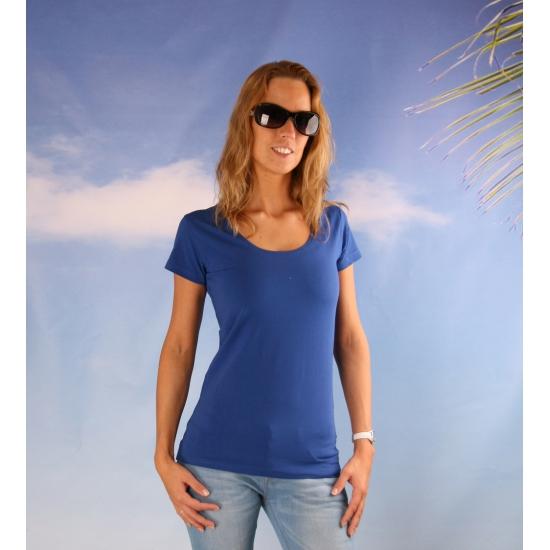 Bodyfit kobalt dames shirt met ronde hals