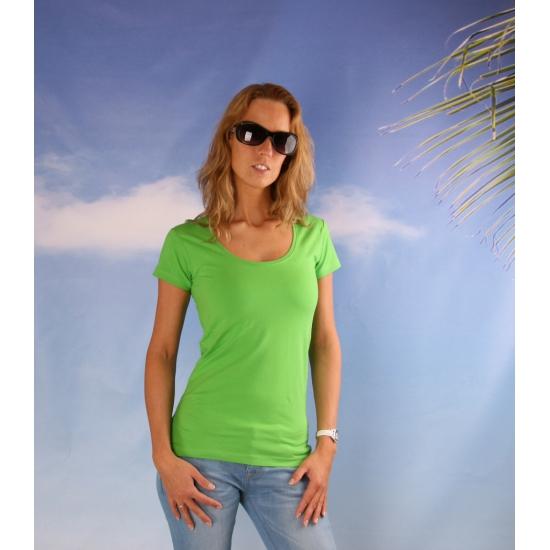 Bodyfit lime dames shirt met ronde hals