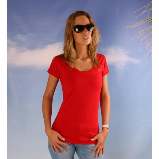 Bodyfit rood dames shirt met ronde hals