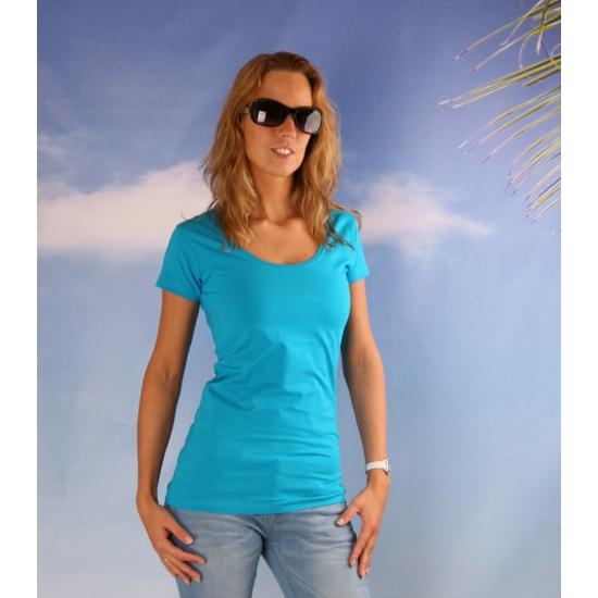 Bodyfit turquoise dames shirt met ronde hals