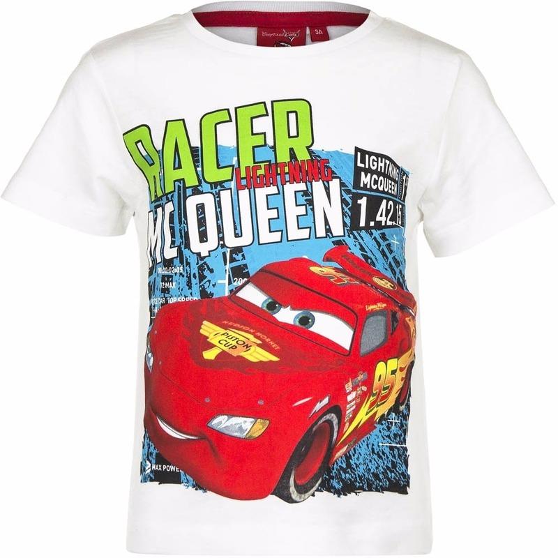 Cars t shirt wit voor jongens