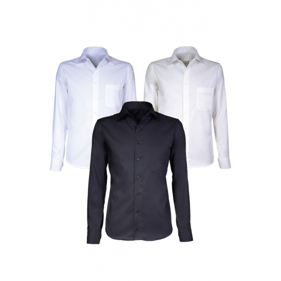 Creme heren overhemd met lange mouwen