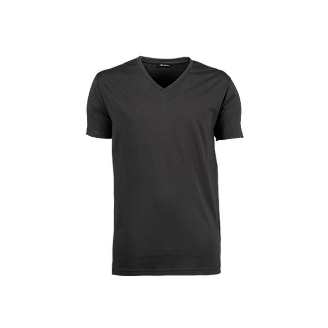 Donkergrijs stretch shirt met V hals