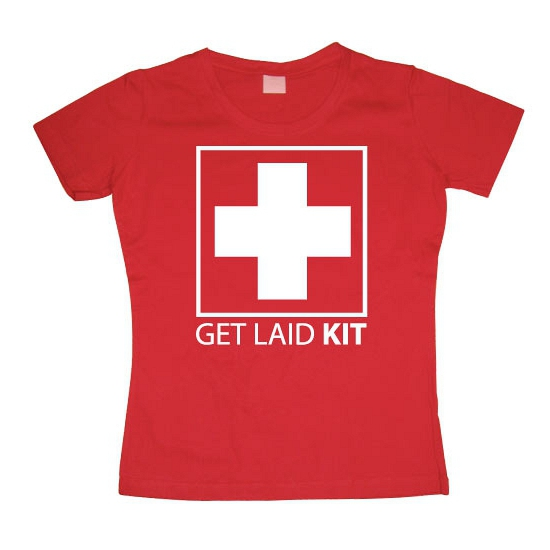 Fun tekst shirt Get Laid Kit dames