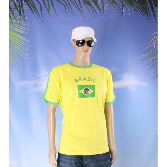 Geel heren shirtje Brazilie vlag
