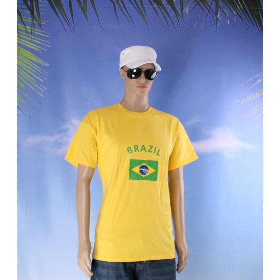 Geel heren shirtje met Braziliaanse vlag