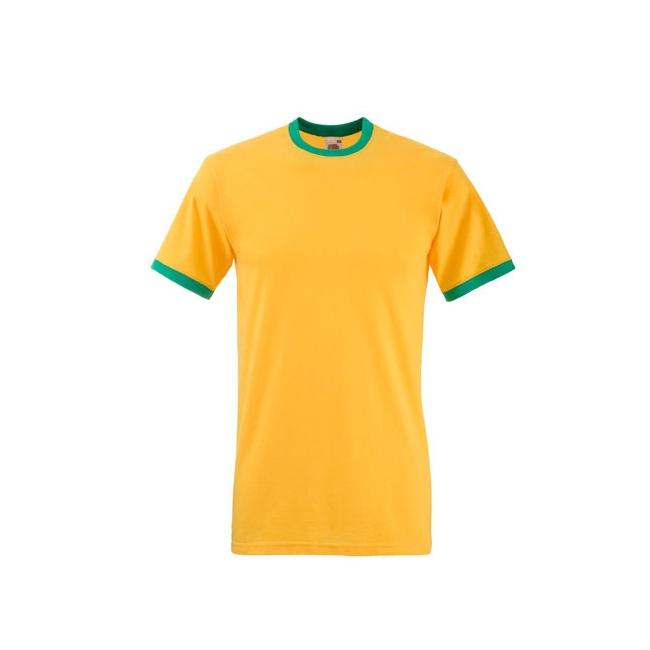 Geel ringer t shirt met groene contrast kleur