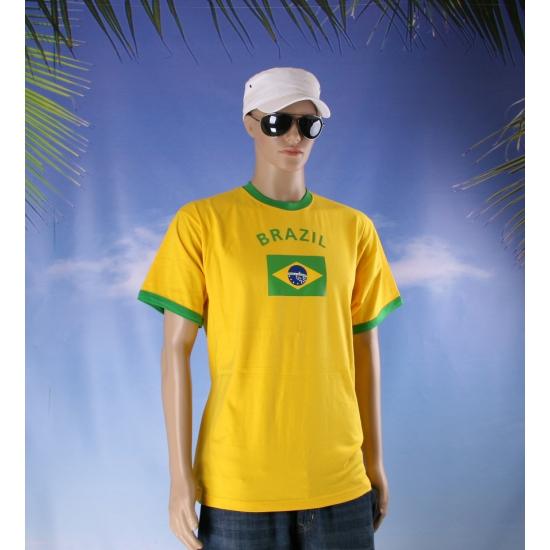 Geel shirt met Brazil print