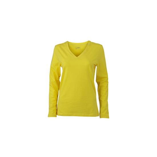 Gele dames cotton stretch shirts LS
