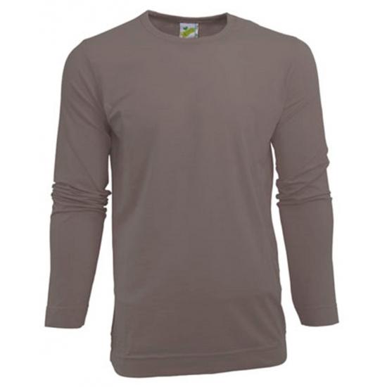Heren shirt zilvergrijs met lange mouwen