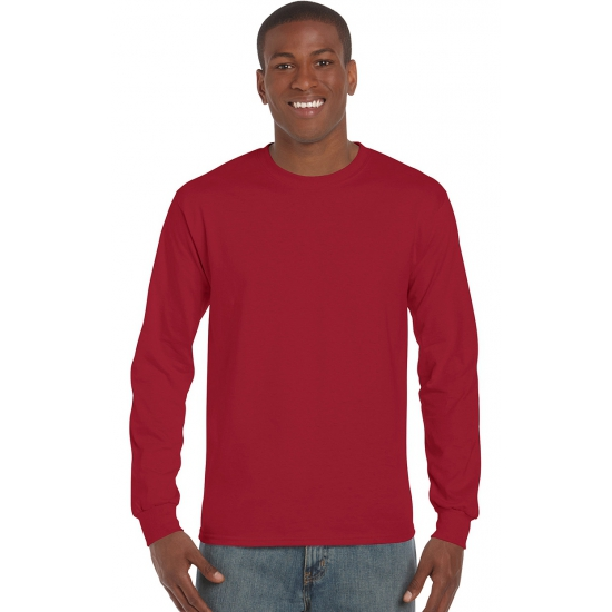 Heren t shirt lange mouw bordeaux
