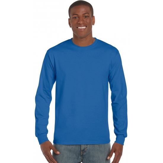 Heren t shirt lange mouw kobalt blauw
