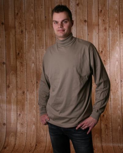 Heren t shirt met col donker khaki