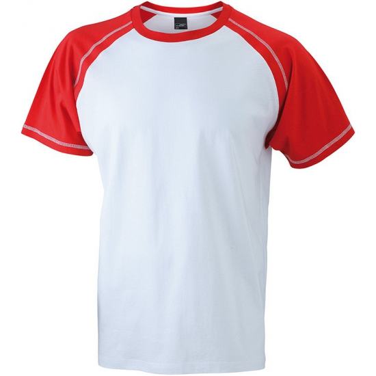 Heren t shirt wit/rood