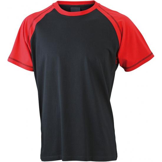 Heren t shirt zwart/rood