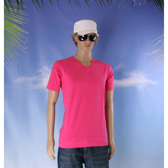 Katoenen Lemon Soda heren fuchsia v hals shirt