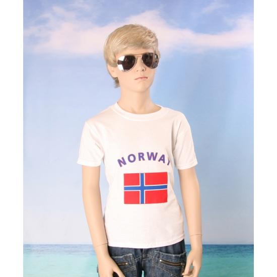 Kinder shirts met vlag van Noorwegen
