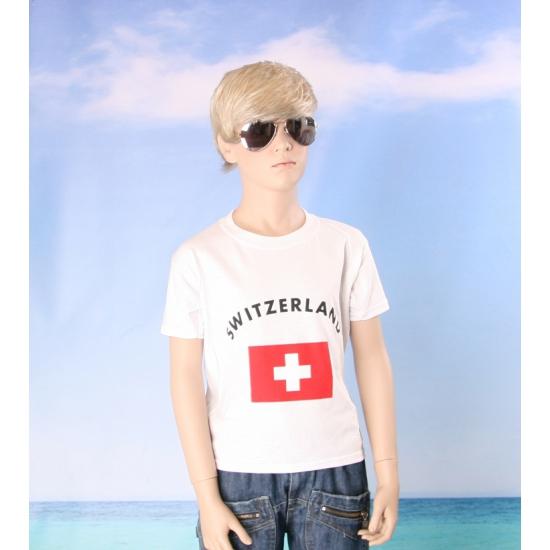 Kinder shirts met vlag van Zwitserland