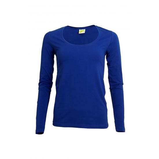 Kobalt damesshirt lange mouw