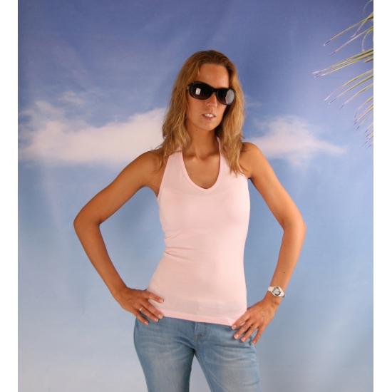 Lichtroze halter shirt voor dames