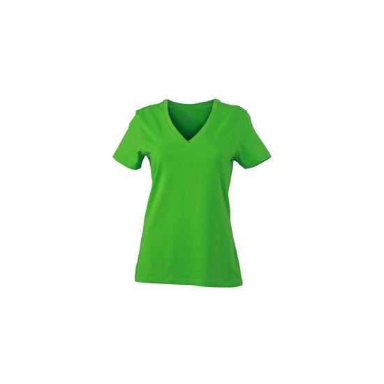 Lime dames stretch t shirt met V hals