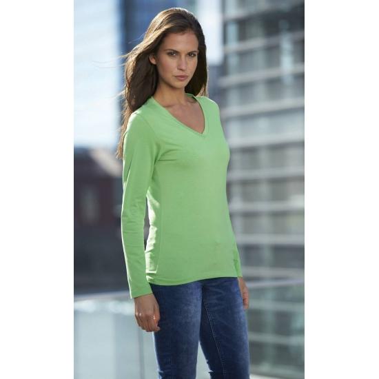 Lime dames v hals shirt lange mouw