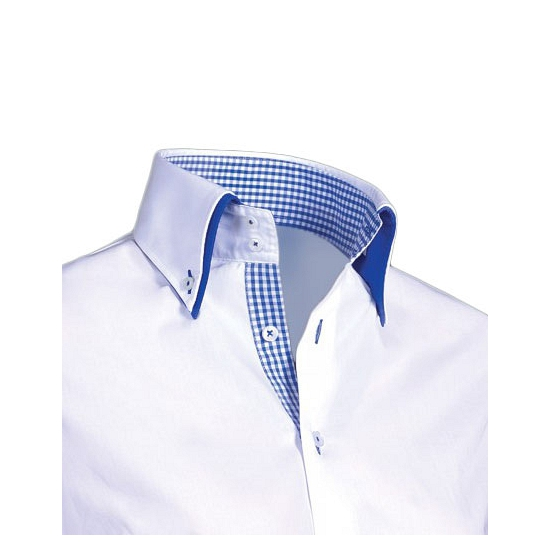 Luxe overhemd wit met blauw Giovanni Capraro