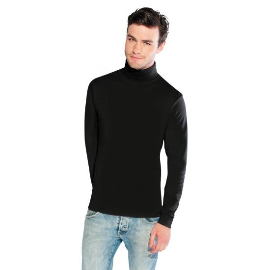Luxe zwarte col t shirt voor heren