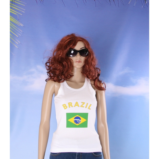 Mouwloos shirt met vlag Brazillië print voor dames