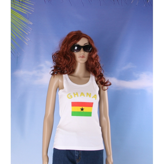 Mouwloos shirt met vlag Ghana print voor dames