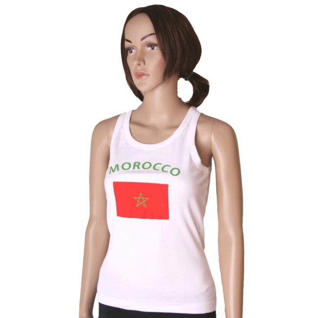 Mouwloos shirt met vlag Marokko print voor dames