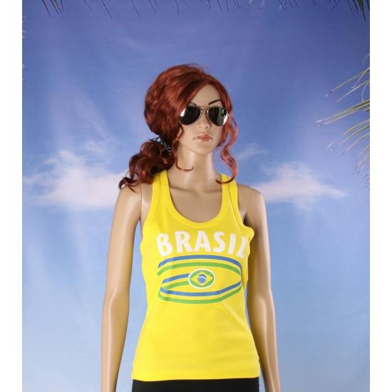 Mouwlose shirts met vlag van Brazilie dames