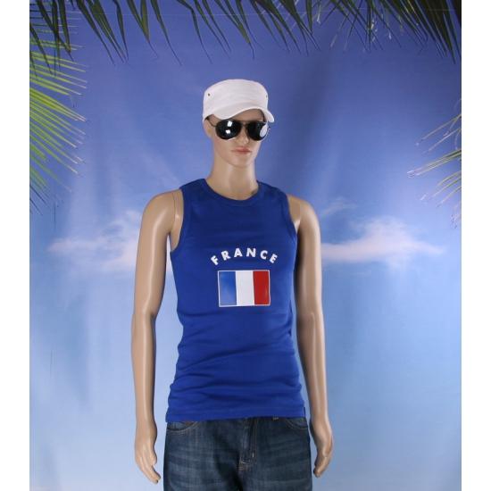 Mouwlose shirts met vlag van Frankrijk heren