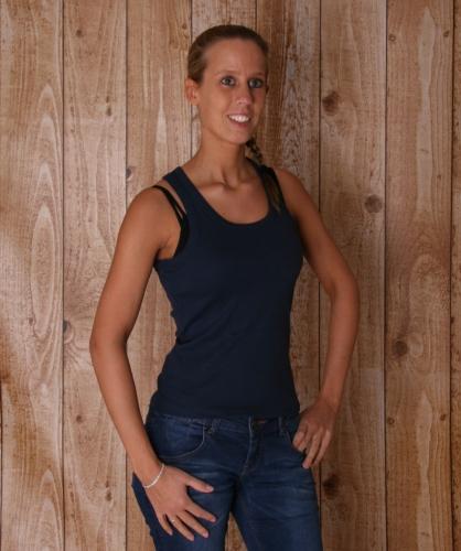 Navy blauwe mouwlose dames t shirts