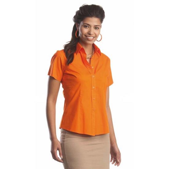 Oranje katoenen overhemd met korte mouwen voor dames