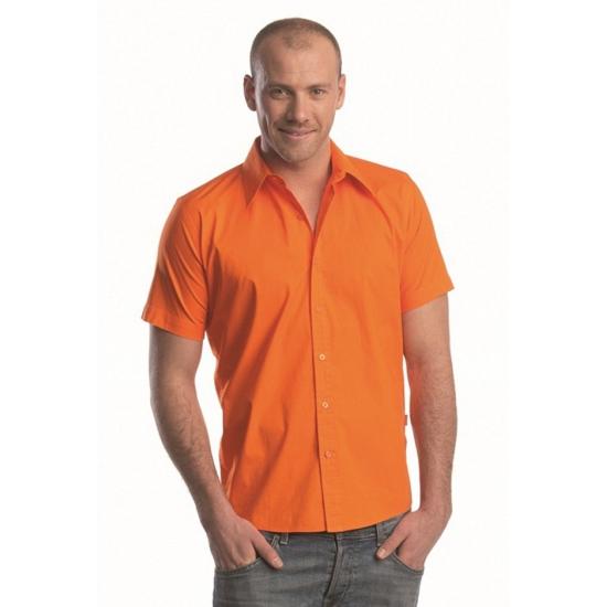 Overhemd met korte mouw voor heren oranje