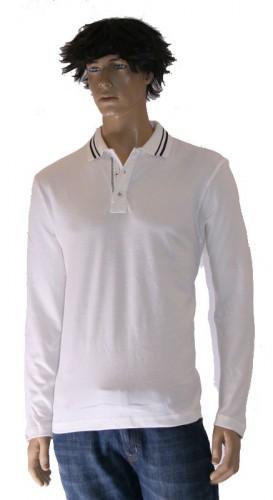 Polo met gestreepte kraag off white