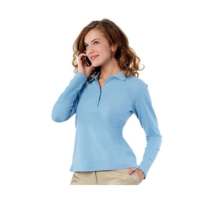 Poloshirt voor dames in de kleur lichtblauw