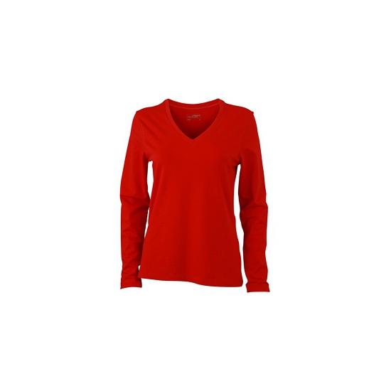 Rood dames v hals shirt lange mouw