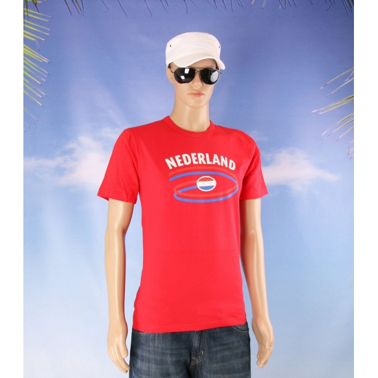 Rood heren shirtje met Nederland print